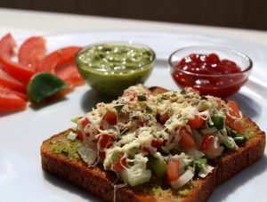 open-cheese-veg-tawa-sandwich-recipe