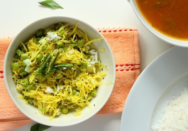 cabbage-green-beans-poriyal-recipe-rasam