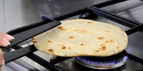 Bajra Rotla then on gas stove