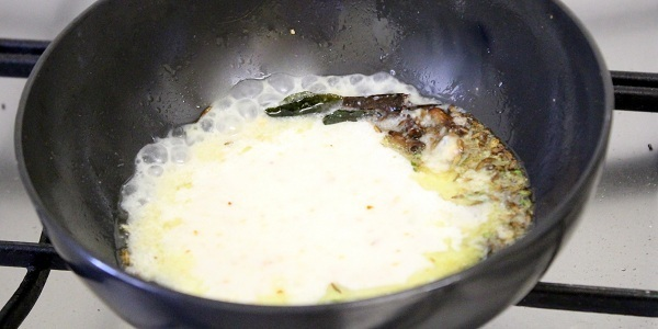 Farali Kadhi Recipe adding yogurt mixture