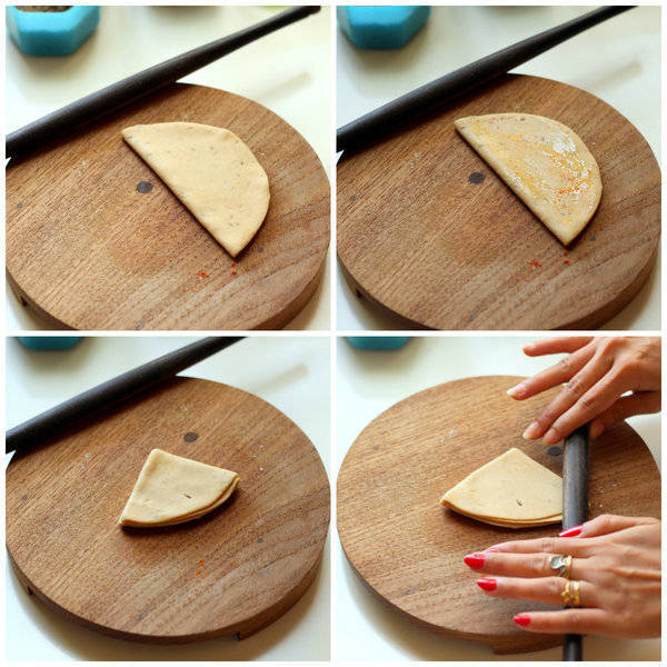 Jeera Paratha Recipe making triangles