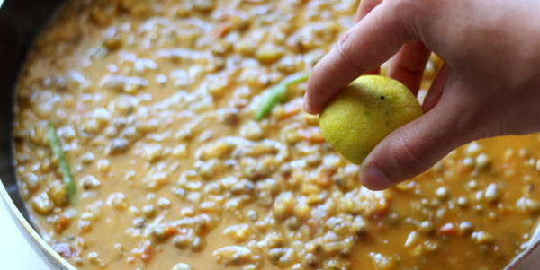 Green Moong Dal Recipe adding lemon