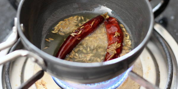 dal tadka  adding dry red chili