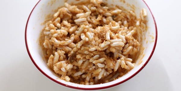 puffed rice peanut butter balls puffed rice peanut mixture