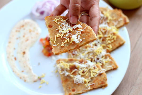 stuffed papad paratha recipe bite