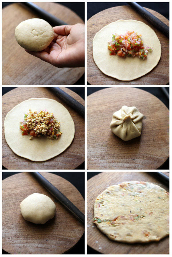 stuffed paratha adding stuffing in paratha