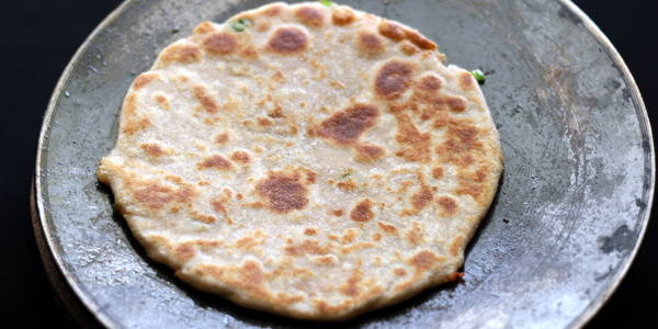 stuffed paratha with papad filling ready