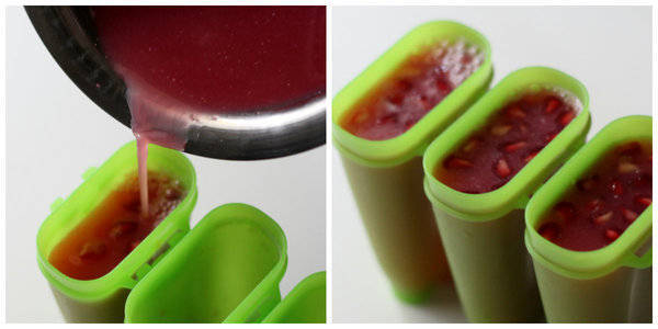 Pomegranate Popsicles add juice in molds