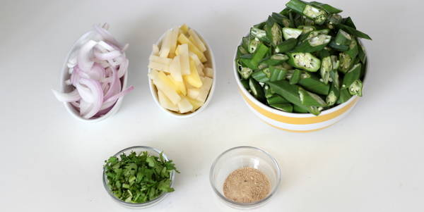 aloo bhindi fry steps ingredients