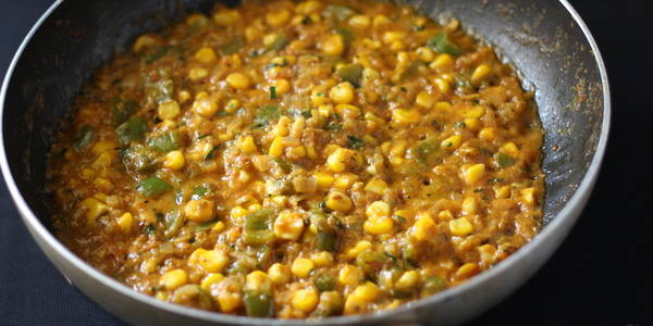 corn capsicum masala sabji is ready