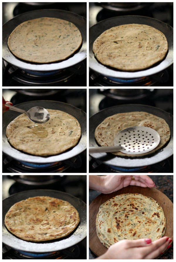 pudina paratha recipe step roasting paratha