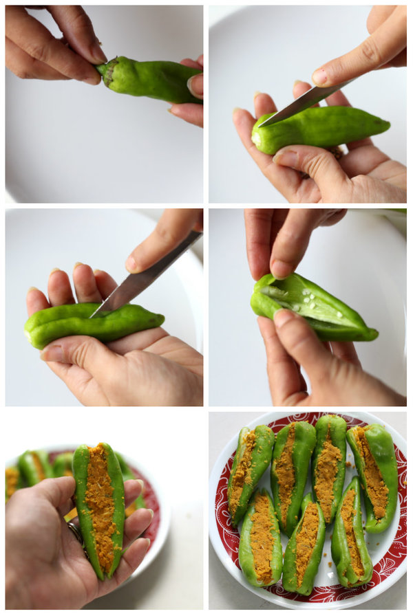 bharwan mirch recipe steps to stuff green chilies