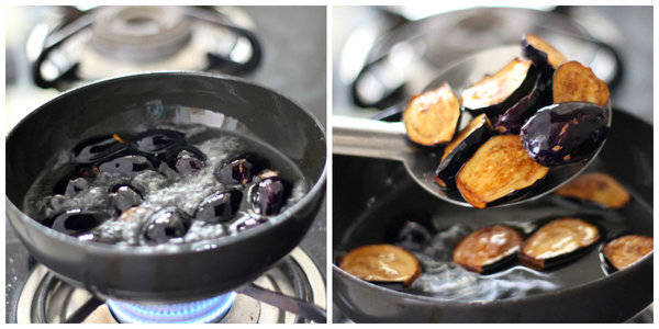 achari baingan recipe frying both side