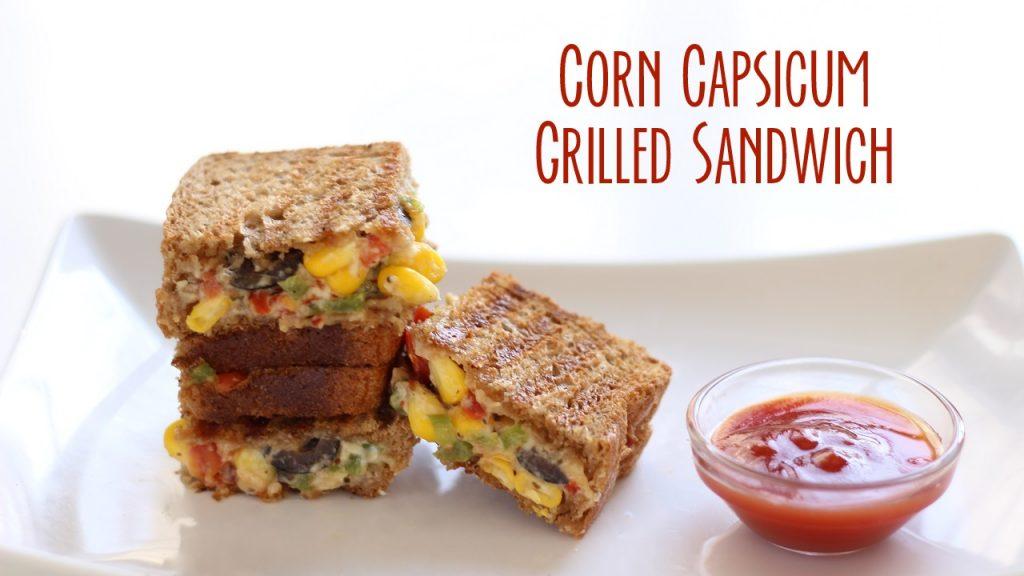 corn capsicum grill sandwich video recipe