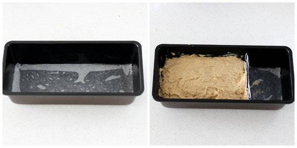 eggless banana cake recipe pour mixture in tin