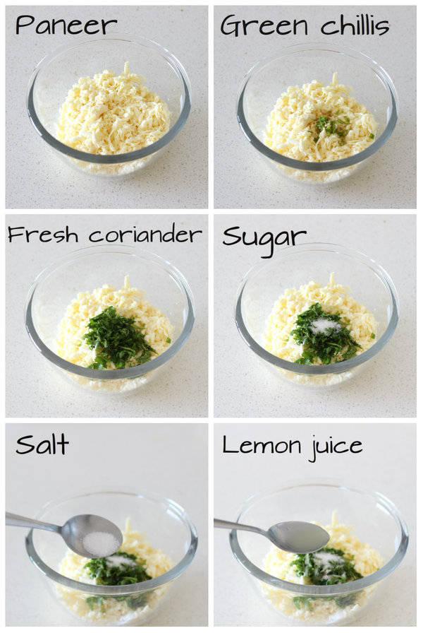 rajgira paneer paratha adding ingredients