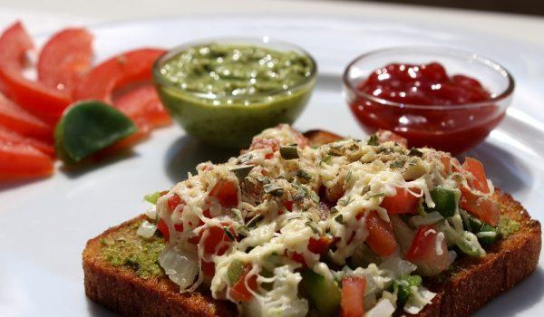 open-cheese-veg-tawa-sandwich-recipe